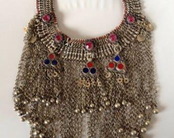 Antique Yemeni Tribal Silver & Glass Necklace