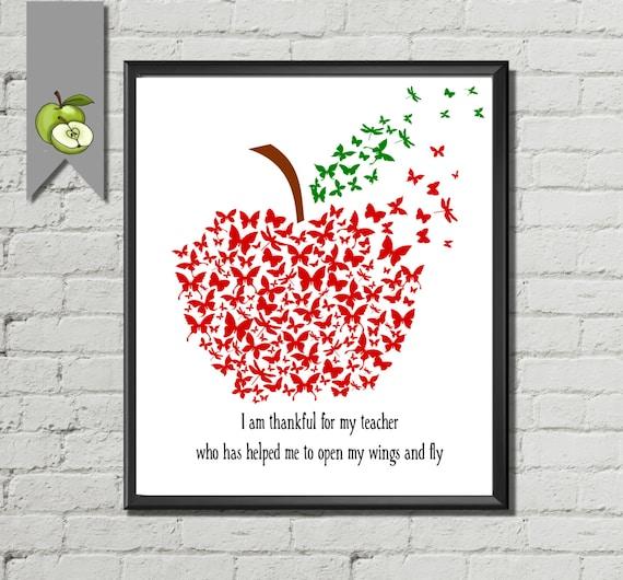 Teacher Appreciation Gift Retirement Teacher Apple Butterfly