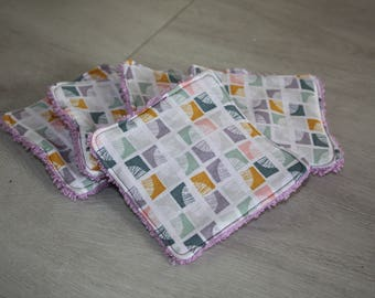 """Set of 5 wipes-eco-friendly cotton Washcloths """"Feathers & purple"""""""