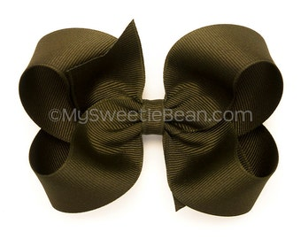 Olive Hair Bow, 4 inch Boutique Bow, Khaki Green Grosgrain Hairbows for Girls, Baby, Basic Bow for Toddler Girls, Dark Army Green Hair Bow