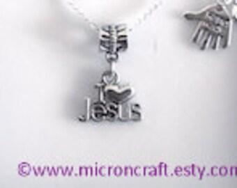 Jesus necklace, I love jesus necklace, silver necklace