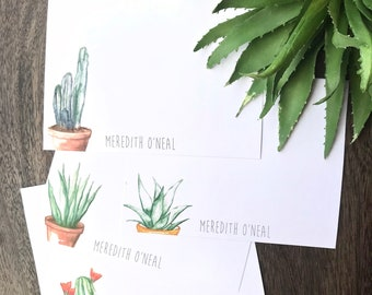 Custom cacti and succulent variety stationary flat watercolor card set of 8