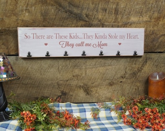 So There are These Kids They Kinda Stole My Heart They call me Mom hearts 7 photo clips Rustic Style Laser Engraved, word changes free
