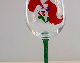 Disney Wine Glass, Ariel Wine glass, glitter wine glass, disney princess wine glass, disney gift, the little mermaid