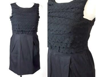 Vintage 80's Dress Mini Wiggle Summer Black Fitted Lace Pencil UK10/12 EU36/38