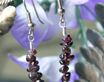 Red Garnet Single Strand Dangle Earrings, Garnet Strand Earrings, Red Garnet Earrings