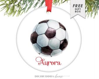 Personalized Soccer Ornament Custom Soccer Ornament Soccer Ball Ornament Sports Christmas Ornament Boy or Girl Personalized Kids Ornament