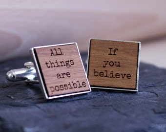 Personalised Wooden Cufflinks - Personalised With Inspirational Quote - Rhodium Plated - Square Cufflinks - Graduation Gift - Gift Idea