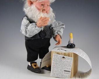 "Elf Doll/OOAK Elf Doll/Fantasy Art Doll/""Professor Finnius T.  Peabody"""