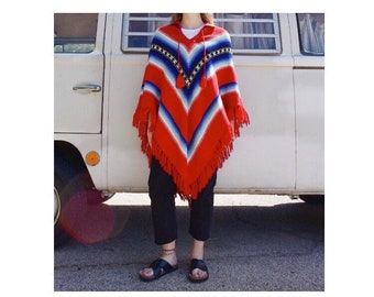 Vintage Poncho, 70s red, white and blue poncho, hippie, boho, bohemian poncho