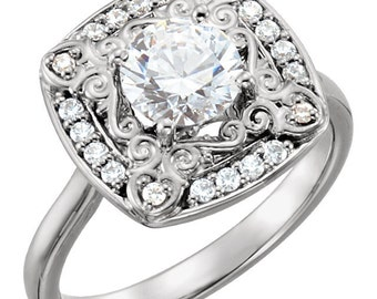3/4 ct  6mm  Round Forever Brilliant Moissanite  14K White Gold  Halo-Styled  Engagement  Ring ST233563