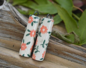 Pink Posies - Handmade Double Sided Porcelain Pillars