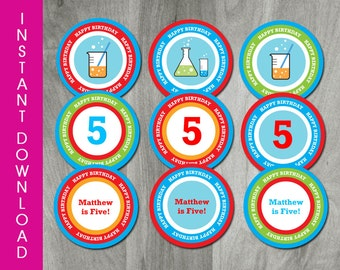 Science Cupcake Toppers, Party Circles, INSTANT DOWNLOAD, Self Editable, Science Birthday, Party Printable, Tags, Digital PDF File