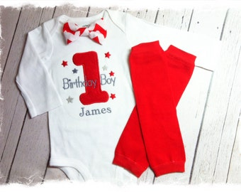 Boys 1st Birthday Outfit-Personalized Birthday Bodysuit with Red Chevron Bow Tie and Red Crawlers-Cake Smash