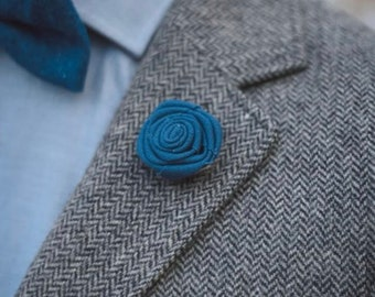 Navy Blue Fabric Rose Lapel Pin // Men's Lapel Pin // Formal Attire