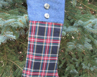 Upcycled Stewart BlackTartan Christmas Stocking