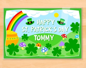 Olive Kids Personalized St. Patrick's Day Placemat, Kids Placemat, Irish Placemat, Holiday Placemat, Laminated Placemat