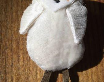 Snowy owl brooch