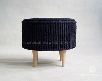 PROMOTION!Crochet pouf, crochet footstool, round ottoman, knitted pouf, knitted footstool, pouf, footstool, table model 009. 55cm / 21,6inch