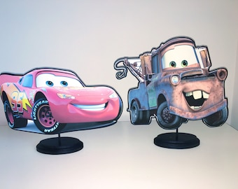 CARS Lightning McQueen and Tow Mater Centerpiece Set (DOUBLE-SIDED)