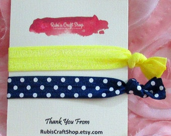 2 Hair Ties Navy Polka Dot Hair Tie and a Solid Color Tie -Fold Over Elastic 5/8' - Handmade Hair Ties - Craft Supplies - Bracelet - Gift