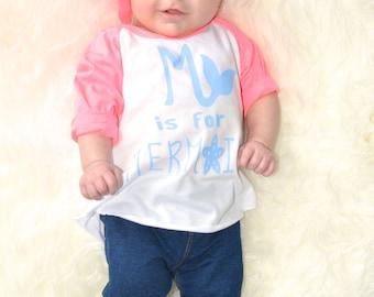 M is for MERMAID, Toddler Clothes, Baseball, Raglan, Family shirts, Mermaid, Disney, Ariel, Little Sister, Mermaid Shirts, Little Mermaid