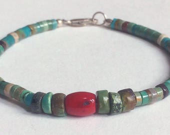 Turquoise & Coral Beaded Bracelet