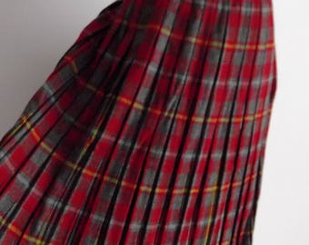 50s Pleated Plaid Skirt / Vintage 1950s Wool Midi Skirt / Wool Plaid Skirt / 50s Skirt
