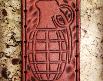 Leather Patch - Grenade - Sew On Anything - hand made by American Made Upgrades