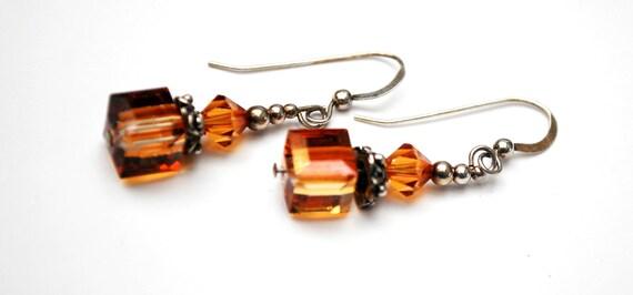 Sterling orange cube  dangle earrings - orange  crystal glass  - drop earring