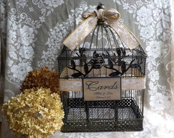 Rustic Wedding Card Holder, Burlap Lace Wedding Birdcage Money Holder, Wedding Cards, Shower Cards, Bird Cage Card Holder Money Box