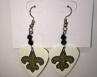 New Orleans Saints Guitar Pick Earrings