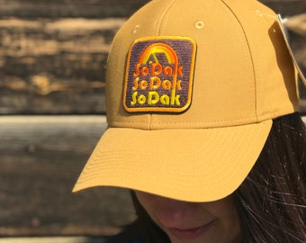 SoDak Retro Camping Duck Brown Trucker Hat - South Dakota Tan Baseball Cap - SoDak Hat Camp Embroidered Patch Snapback Cap Oh Geez Design
