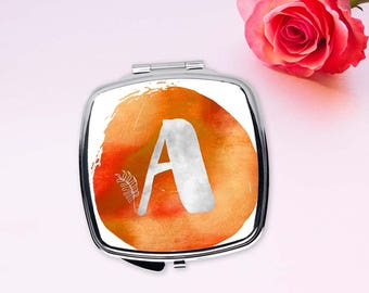 Personalized Bridesmaids gift, Initial pocket mirror, Monogram compact mirror, Orange watercolor mirror, Romantic gifts for women, CMin001-3