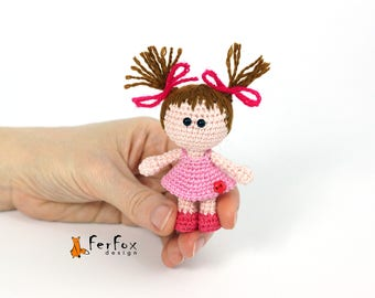 Miniature doll Tiny doll lovers gift Collectible doll Art doll Pocket size doll Handmade doll Dollhouse miniature Collectable Gift for girl