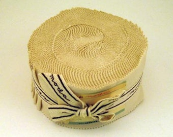 NATURAL Jelly Roll Bella Solids Moda Basics 40 pieces 2.5 inch fabric strips--beige neutral--9900JR 12