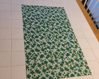 St. Patrick's Day table runner, table topper,shamrocks and gold swirls