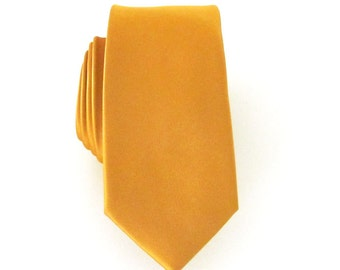 Skinny Tie Mikado Yellow Skinny Necktie With *FREE* Matching Pocket Square Set