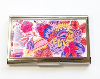 Business Card Case, Card case, Floral Case, business card holder, Card case for her, Floral Design, Pink, Purple (2925)
