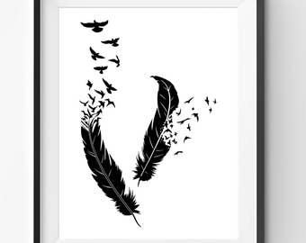 Black Birds flying out of feathers Print, Black Feathers Print, Black Birds Flying, Birds Drawing, Feathers Poster, Nature Decor Art