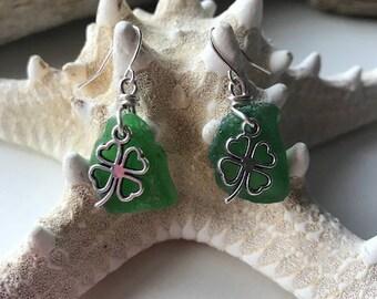 Shamrock Sea Glass Earrings