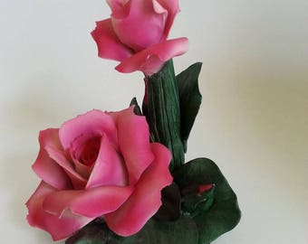 Vintage Capodimonte Rioleva collection hand made porcelain roses  centerpiece made in Italy