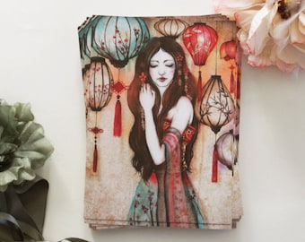 """Postcard - illustrated postcard - asia - Chinese lantern - watercolor - illustration - """"The Night of The Lanterns"""""""