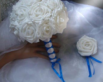 White Rose bridal bouquet, Pearl White and Royal Blue Ribbon