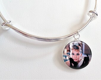 Audrey Hepburn Charm Bracelet - Breakfast at Tiffany's Charm Bracelet- Audrey Hepburn color photo with cigarette