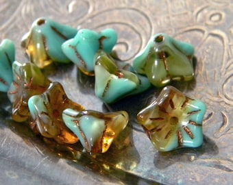 Patina Sky (10) -Czech Glass Bell Flowers 9x6mm