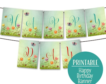 Happy Birthday Banner, Storybook Birthday Banner, Garden Party Birthday Bunting,  Instant Download 1157