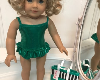 American Made One-piece ruffled Swimsuit/ bag and sandals made to fit 18 inch dolls such as American Girl