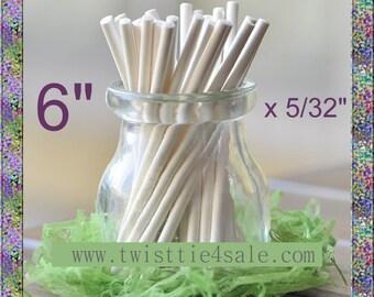 """100pcs 6"""" x 5/32"""" Paper  Lollipop Sticks for Cake Pops"""