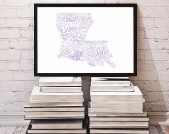 COLOR State of Louisiana Typography Print; Christmas Gift; Wall Art and Decor; Wedding Anniversary Graduation Gift